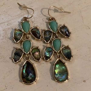 Turquoise and iridescent dangly earrings